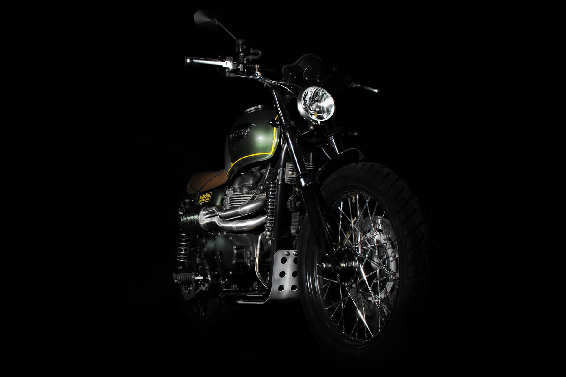 A225, Scrambler, Barbour, Barbour International, Britain, British, Photography, Film, WeAreShuffle, Biker, Motorcycle, Leather, Breaks, Break Discs, Triumph, Front