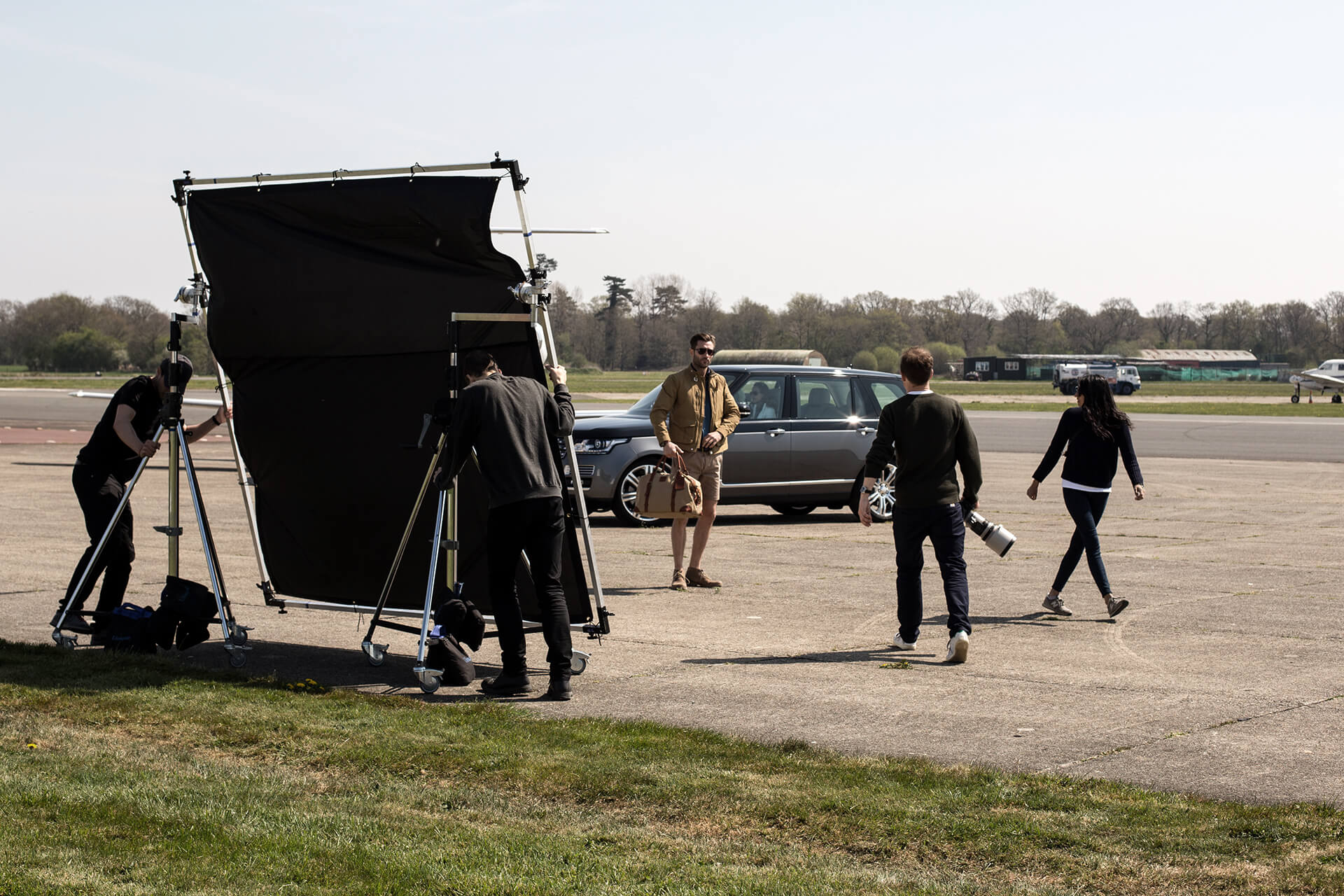 WeAreShuffle, Agency, Creative, Photography, Film, Production, Land Rover, Range Rover, Plane, Barbour, Fashion, Run Way, Model, Crew, Behind the scenes