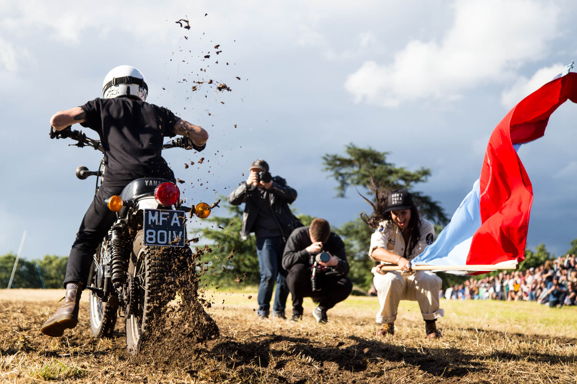 Malle Mile, Event, Motorcycle, Richard, Summer, WeAreShuffle, Agency, Photography, Film, Production, Malle London, Triumph, Flag, Biker, Field, Race, Helmet, Start, BTS
