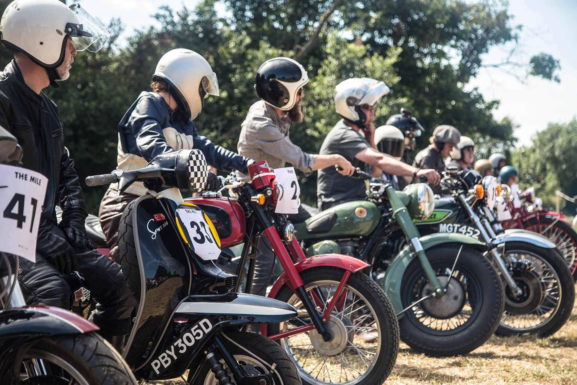 Malle Mile, Event, Motorcycle, Richard, Summer, WeAreShuffle, Agency, Photography, Film, Production, Malle London, Triumph, Flag, Biker, Field, Race