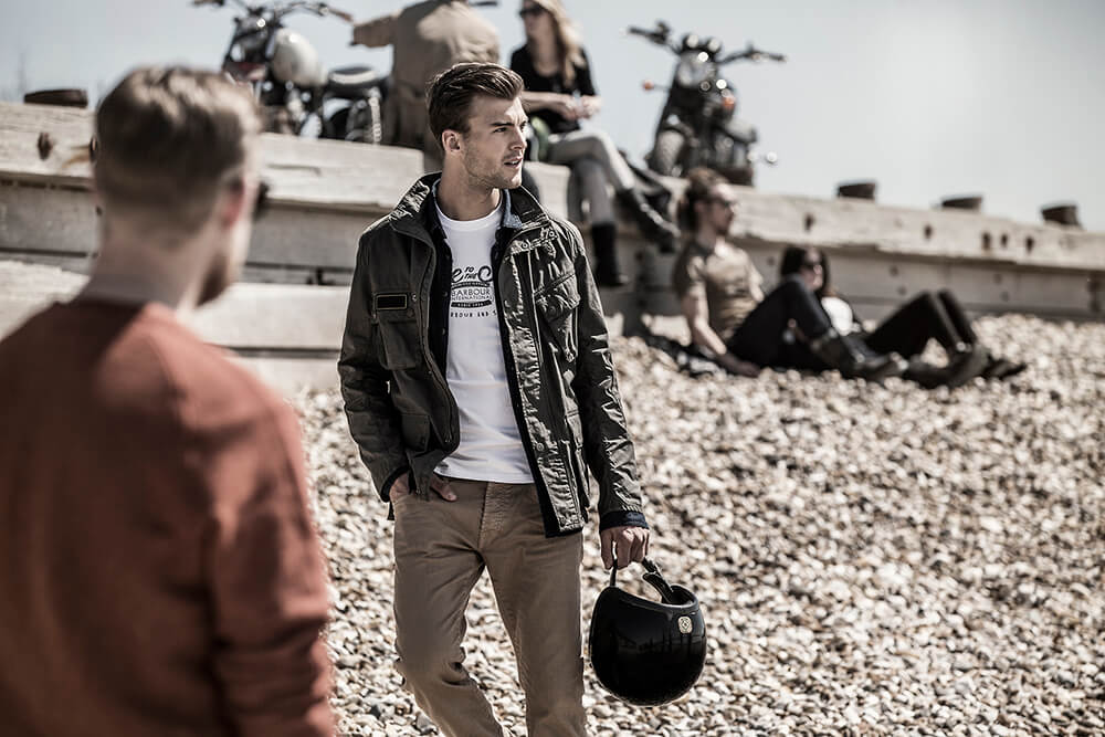 Barbour, Barbour International, Fashion, Clothes, Agency, Photography, Film, London, Sunset, WeAreShuffle, Bikers, Camp fire, beach, sea, production, marketing, ride to the sun, stones