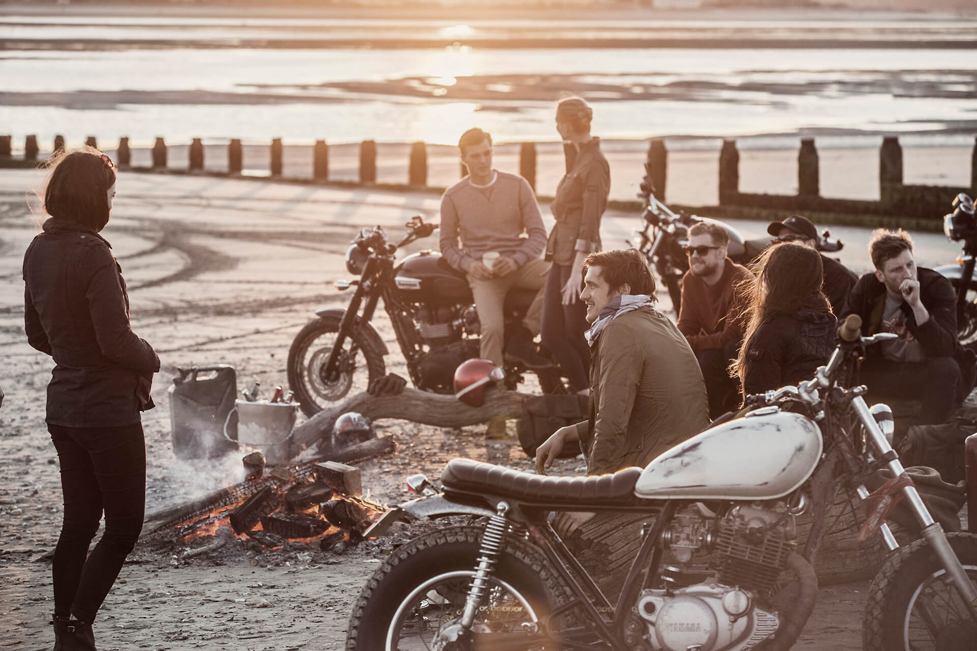 Barbour, Barbour International, Fashion, Clothes, Agency, Photography, Film, London, Sunset, WeAreShuffle, Bikers, Camp fire, beach, sea, production, marketing, ride to the sun