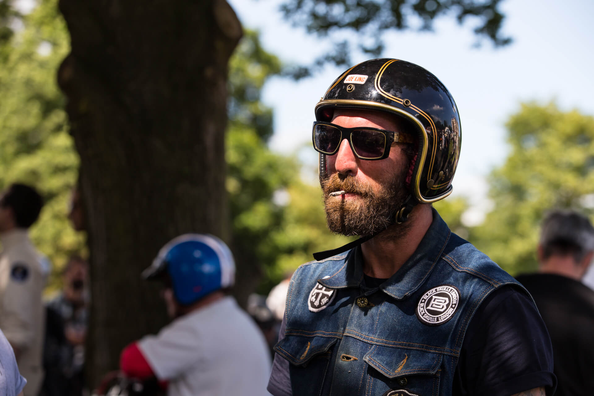Malle Mile, Event, Motorcycle, Richard, Summer, WeAreShuffle, Agency, Photography, Film, Production, Malle London, Triumph, Flag, Biker, Field, Race, Helmet, Movember