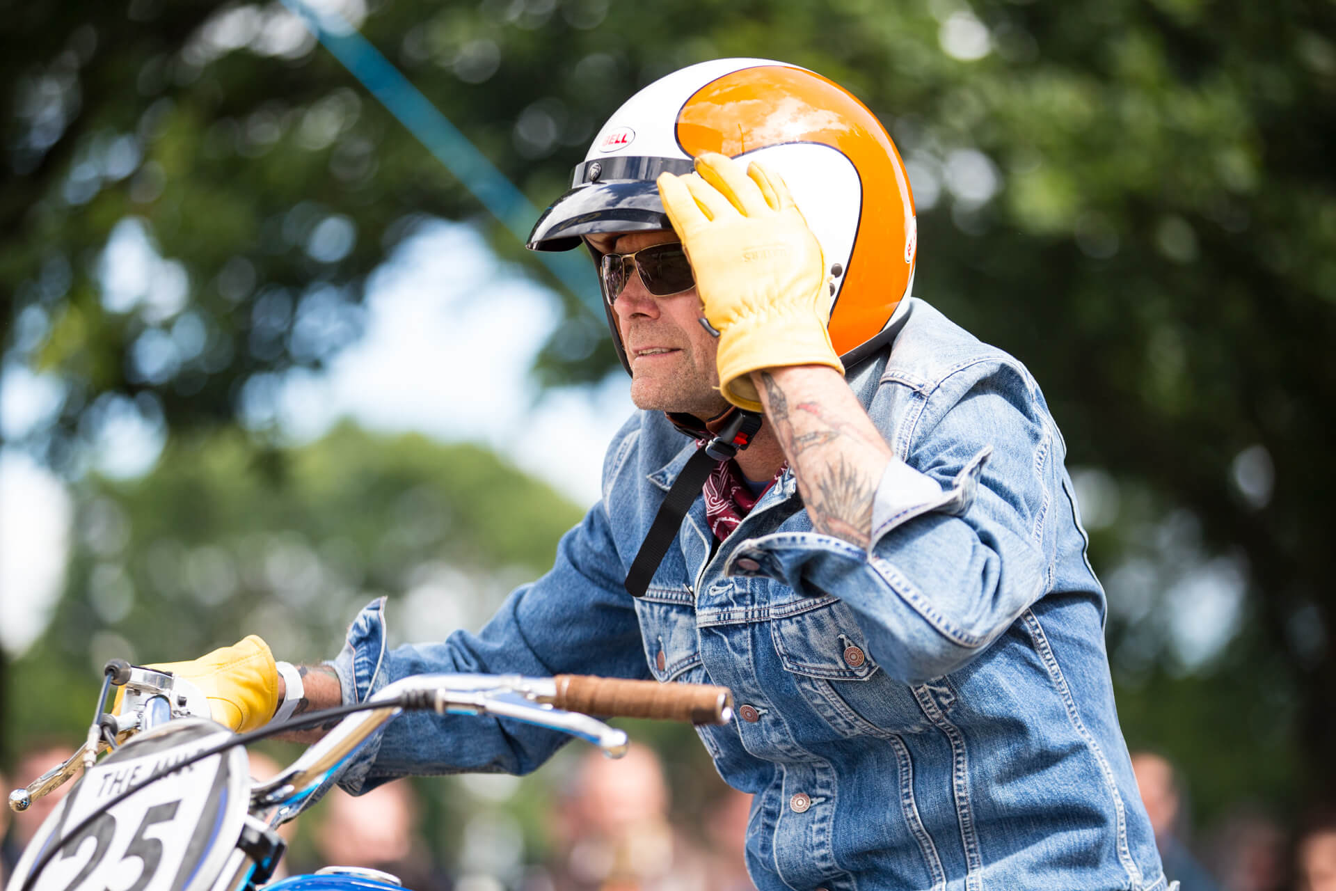 Malle Mile, Event, Motorcycle, Richard, Summer, WeAreShuffle, Agency, Photography, Film, Production, Malle London, Triumph, Flag, Biker, Field, Race, Helmet, Dirt, Ready