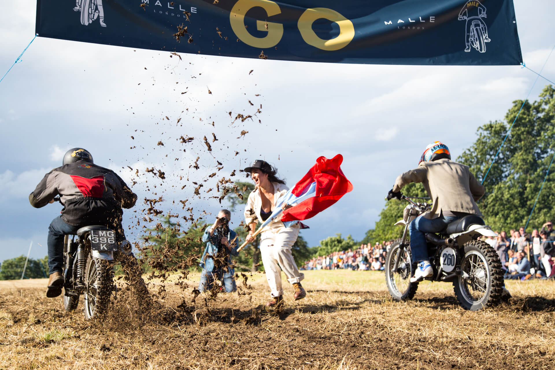 Malle Mile, The Mile, Event, Motorcycle, Richard, Summer, WeAreShuffle, Agency, Photography, Film, Production, Malle London, Triumph, Deus, Flag, Steward, Biker, Mud