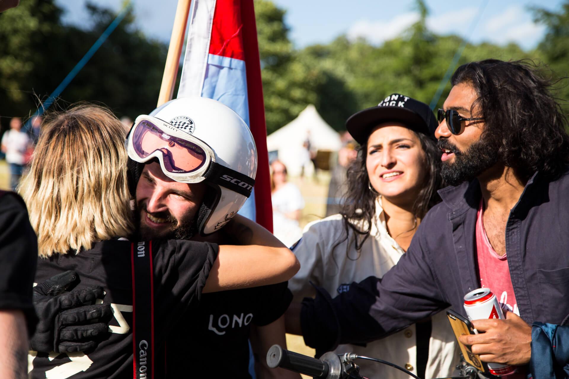 Malle Mile, Event, Motorcycle, Richard, Summer, WeAreShuffle, Agency, Photography, Film, Production, Malle London, Triumph, Flag, Biker, Field, Race, Helmet, Dirt, Finish